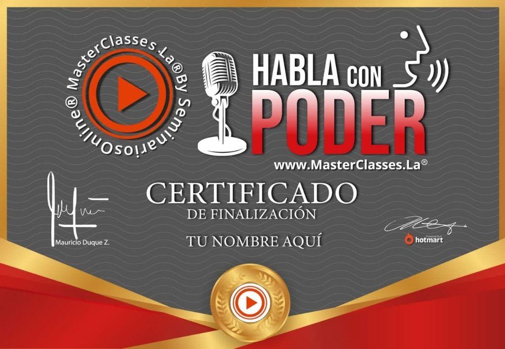 certificado avalado por Hotmart y Seminarios Online.