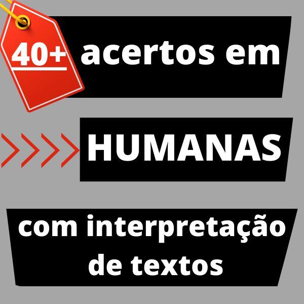 Imagem principal do produto 40+ acertos em humanas com interpretação de textos.