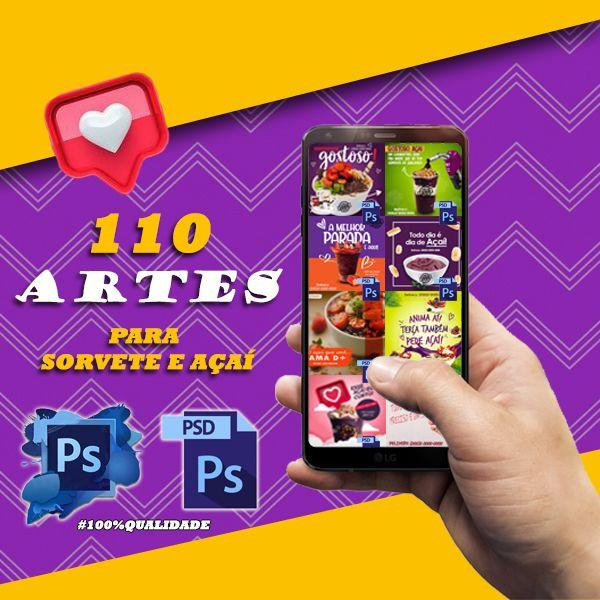 Imagem principal do produto 110 arquivos de sorvete e açaí para Instagram e facebook, formato para edição no photoshop.