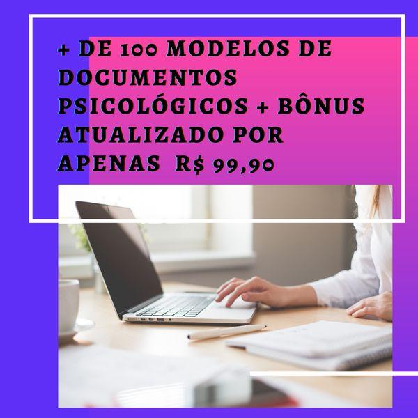 Imagem principal do produto + de 100 modelos de documentos psicológicos + bônus  ATUALIZADO