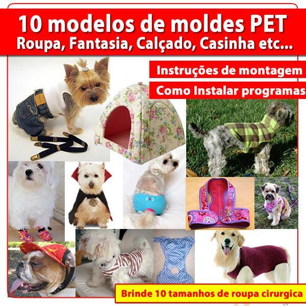 Imagem principal do produto 10 Modelos moldes para Pets em PDF (Roupinha, Fantasia, Calcinha, Boné, Casinha, etc..)+ Brinde