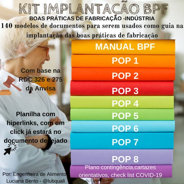 Imagem principal do produto KIT Implantação BPF (Boas Práticas de fabricação indústria de alimentos)  -com base na RDC326 e RDC275