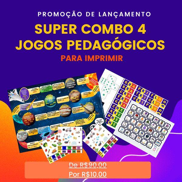 Imagem principal do produto Combo 4 jogos pedagógicos- Sílabas Complexas