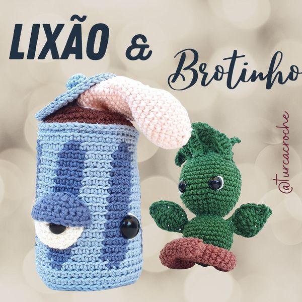 Imagem principal do produto Brotinho e Lixão Receita de amigurumi em crochê em PDF