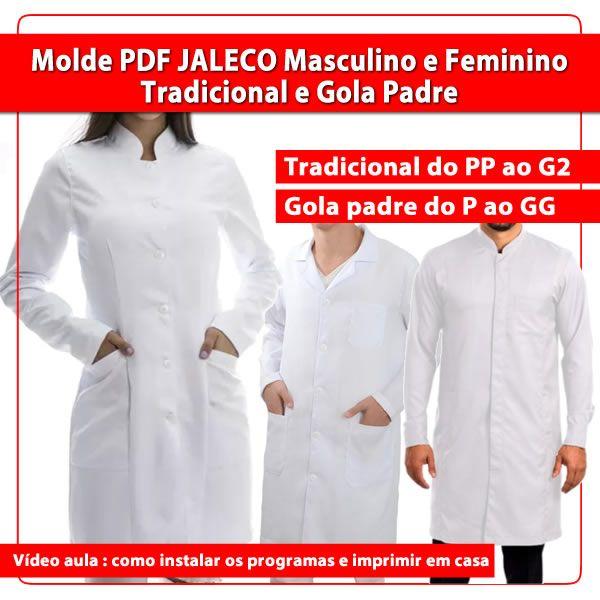 Imagem principal do produto Molde PDF JALECO masculino e feminino do PP ao G2