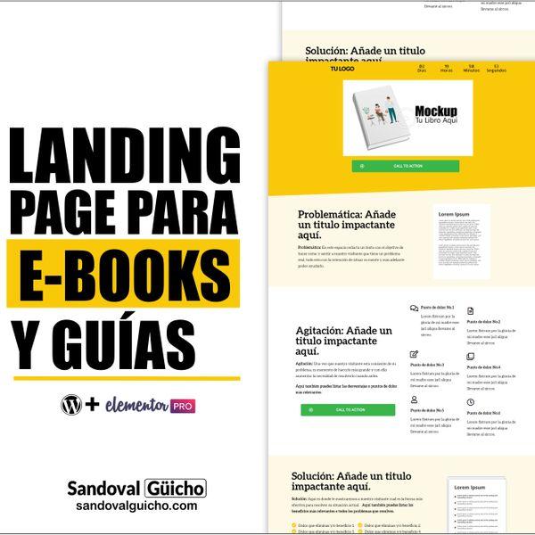 Imagem principal do produto 30-. 👉 Landing Page + Página de Ventas para E-Books y Guías - Compatibles para WordPress y Elementor PRO.