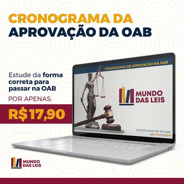Imagem principal do produto CRONOGRAMA DA APROVAÇÃO DA OAB