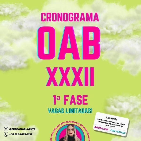 Imagem principal do produto Cronograma 30 dias - OAB XXXII