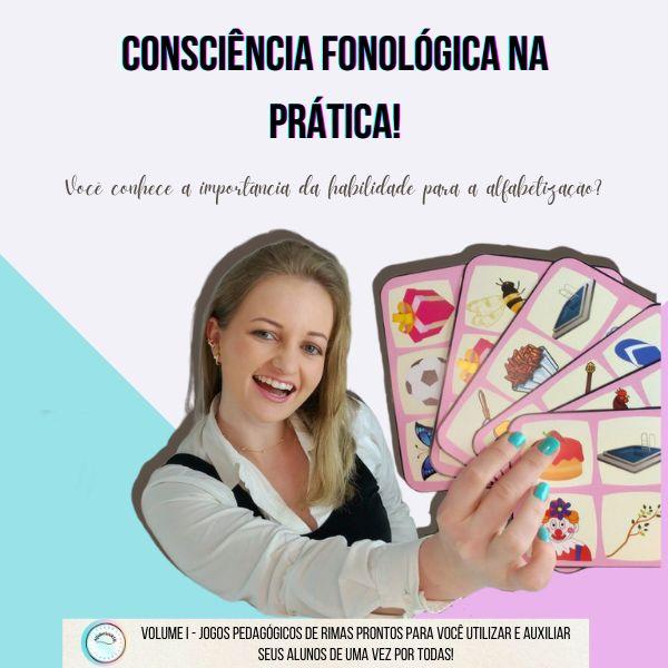 Imagem principal do produto Consciência fonológica na prática - Jogos de rimas para você auxiliar seus alunos de uma vez por todas!