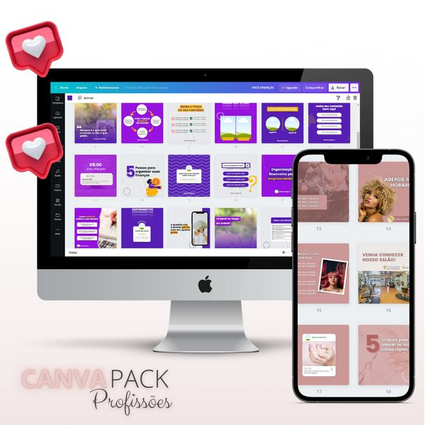 Imagem principal do produto Canva Pack Profissões | + de 1.000 templates editáveis no Canva | + Curso Express Canva + Bônus Exclusivos