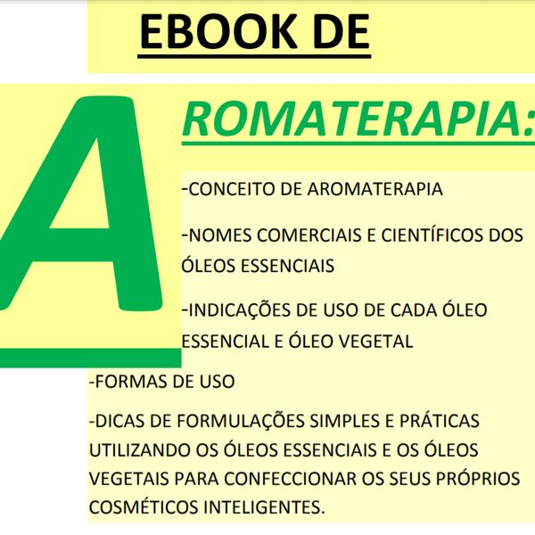 Imagem principal do produto Ebook de Aromaterapia