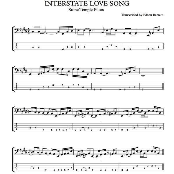 Imagem principal do produto INTERSTATE LOVE SONG (Stone Temple Pilots) Bass Score & Tab Lesson