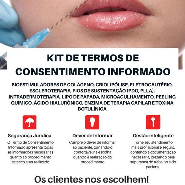 Imagem principal do produto KIT COM 12 TERMOS DE CONSENTIMENTO INFORMADO - BIOMÉDICOS(AS) ESTETAS