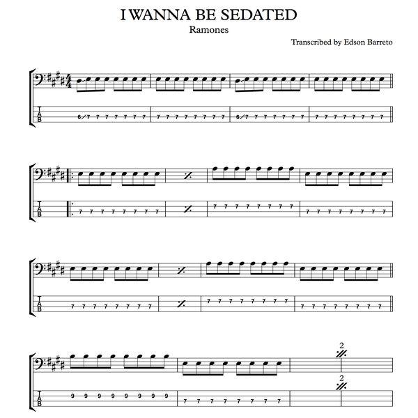 Imagem principal do produto I WANNA BE SEDATED (Ramones) Bass Score & Tab Lesson