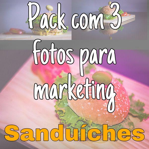 Imagem principal do produto Pack com 3 fotos para marketing de sanduíches