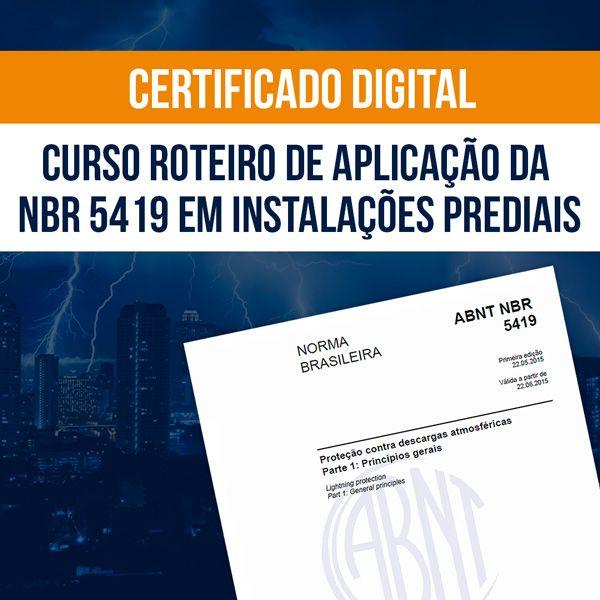 Imagem principal do produto Certificado - Curso Roteiro de Aplicação da NBR 5419 em Instalações Elétricas