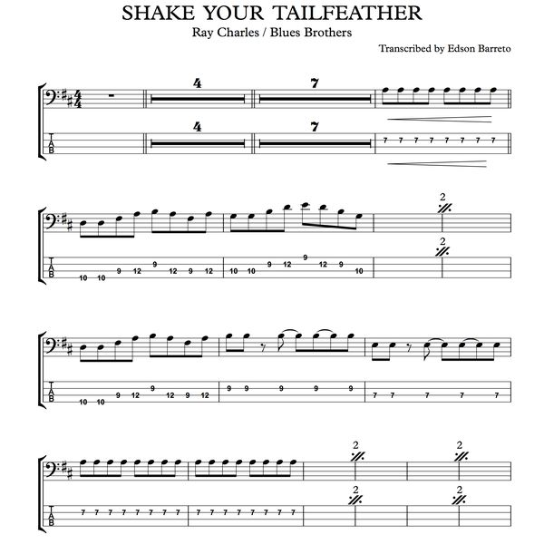 SHAKE YOUR TAILFEATHER (Blues Brothers / Ray Charles) Bass Score & Tab  Lesson | Hotmart