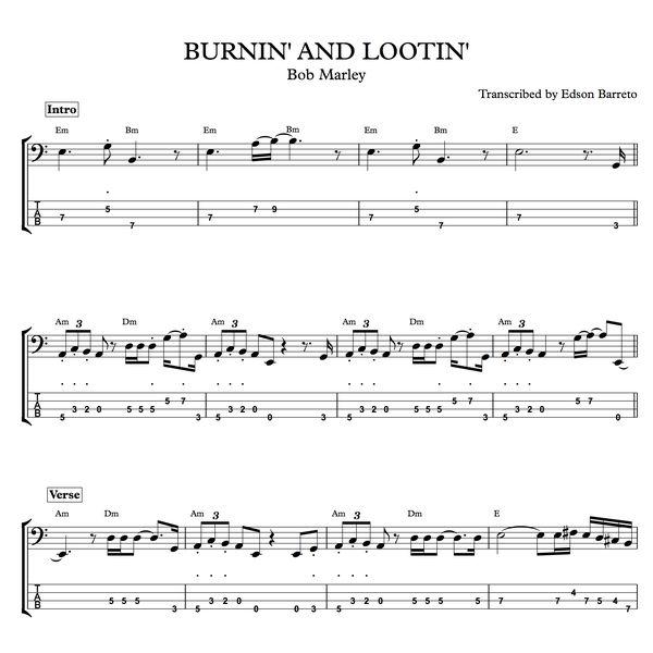 Imagem principal do produto BURNIN' AND LOOTIN' (Bob Marley) Bass Transcription, Score & Tab Lesson