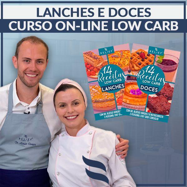 Imagem principal do produto Curso Online de Lanches Low Carb + E-book com 10 receitas extras + Curso Online de Doces Low Carb + E-book com 10 receitas extras