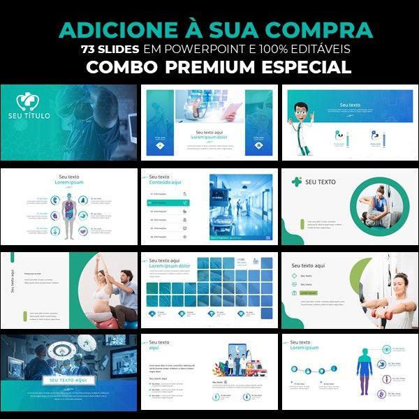 Imagem principal do produto Combo templates premium em powerpoint  para área da saúde