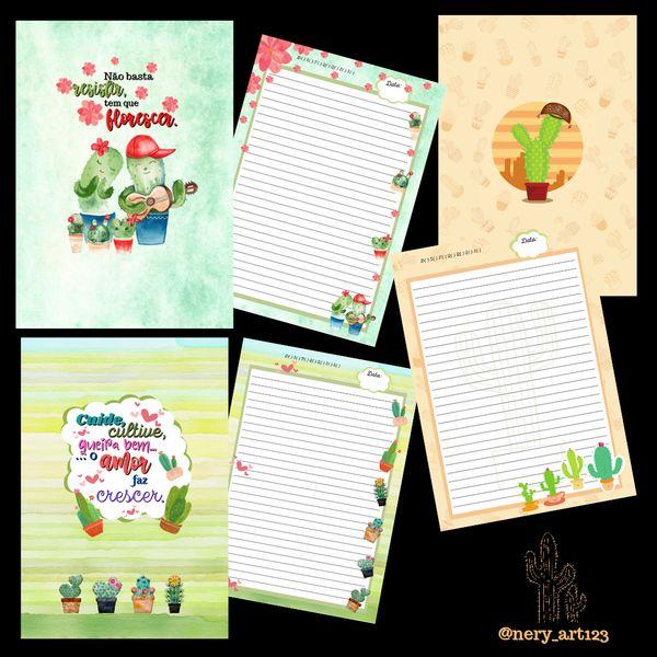 Imagem principal do produto Kit de 3 Cadernos - tema: Cactos