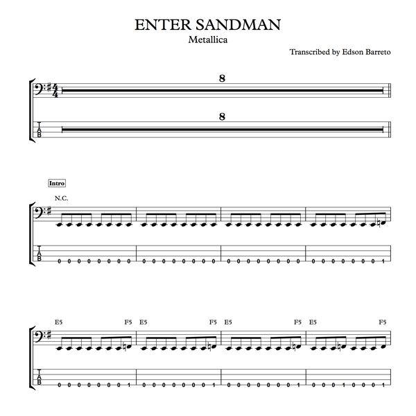 Imagem principal do produto ENTER SANDMAN (Metallica) Bass Transcription, Score & Tab Lesson