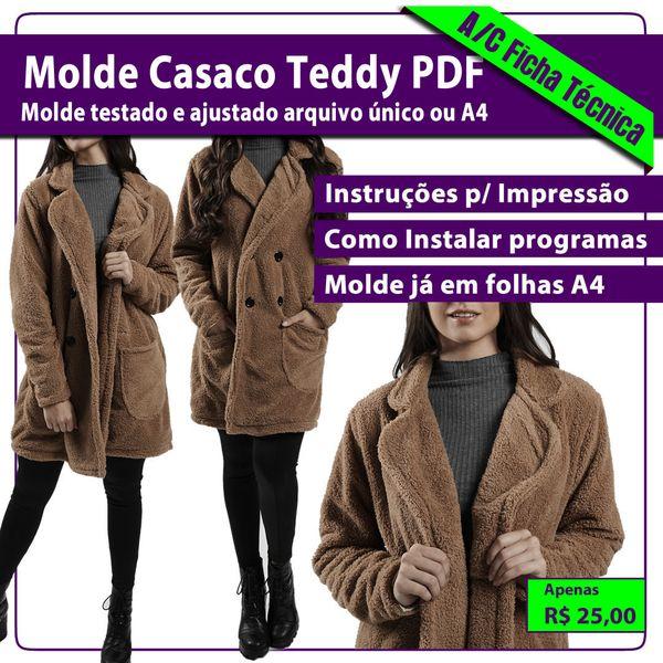 Imagem principal do produto Molde PDF Casaco TEDDY (casaco polar) P-M-G-GG