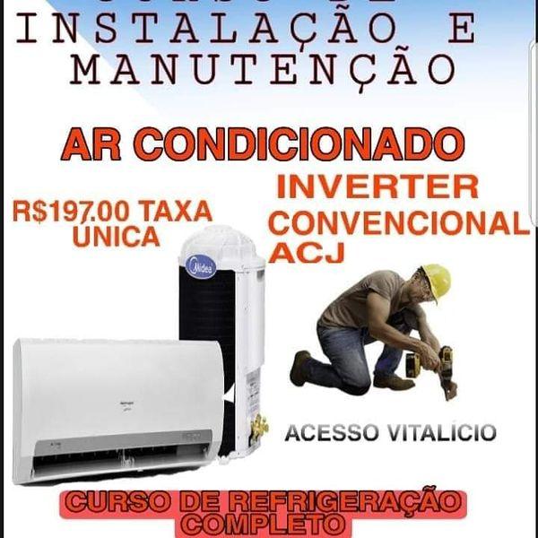 Imagem principal do produto CURSO COMPLETO DE REFRIGERAÇÃO ,INSTALAÇÃO ,CARGA GÁS ,MANUTENÇÃO DE SPLIT E AR CONDICIONADO, TOTALMENTE  EM VIDEO AULAS