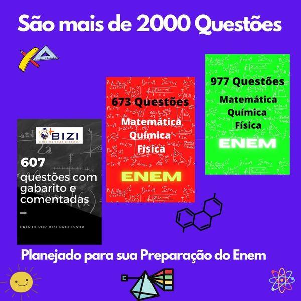 Imagem principal do produto 607 Questões de Matemática, Química , Física e Biologia do Enem com gabarito comentado!!!!