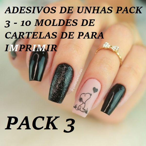 Imagem principal do produto ADESIVOS DE UNHAS PACK 3 - 10 MOLDES DE CARTELAS DE PARA IMPRIMIR