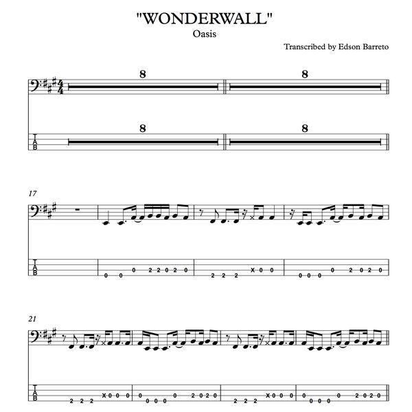 WONDERWALL (Oasis) Bass Score & Tab Lesson | Hotmart