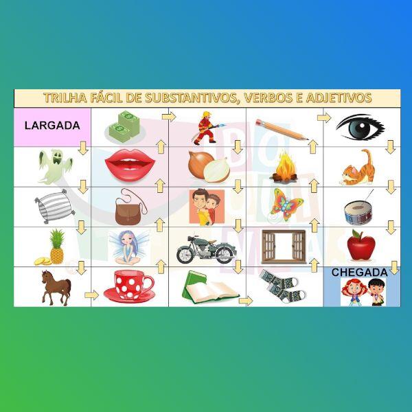 Imagem principal do produto Jogo TRILHA FÁCIL (download) de substantivos, verbos e adjetivos