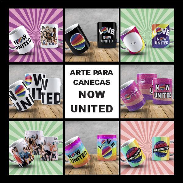 Imagem principal do produto Artes para canecas NOW UNITED + MOCKUP'S + Gabarito de impressão em porcelana e polímero + Manual de sublimação + Pack Hard Rock de Brinde