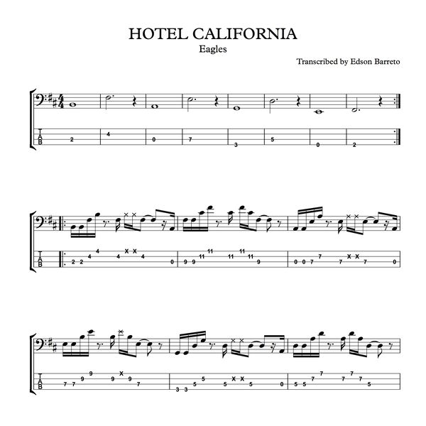 Imagem principal do produto HOTEL CALIFORNIA (Eagles) Bass Score & Tab Lesson
