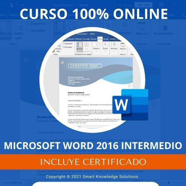 Imagem principal do produto Curso completo 100% Online de Microsoft Word 2016 Intermedio incluye libro y certificado