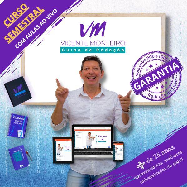 Imagem principal do produto Curso de Redação para Enem e Vestibulares - Prof. Vicente Monteiro - Semestral