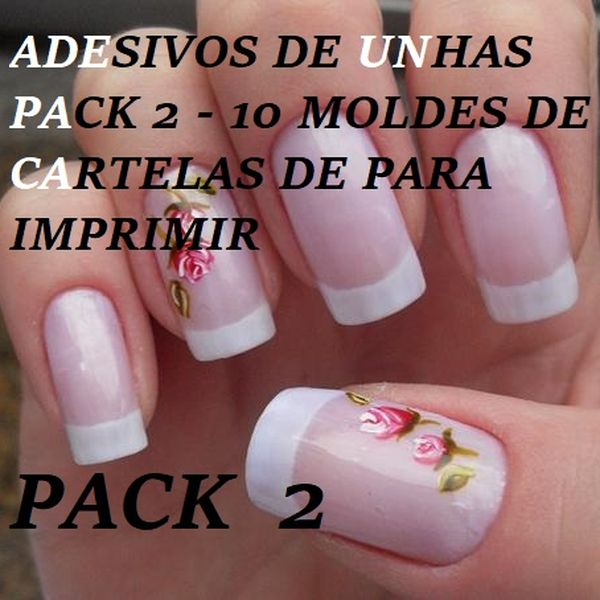 Imagem principal do produto ADESIVOS DE UNHAS PACK 2 - 10 MOLDES DE CARTELAS DE PARA IMPRIMIR