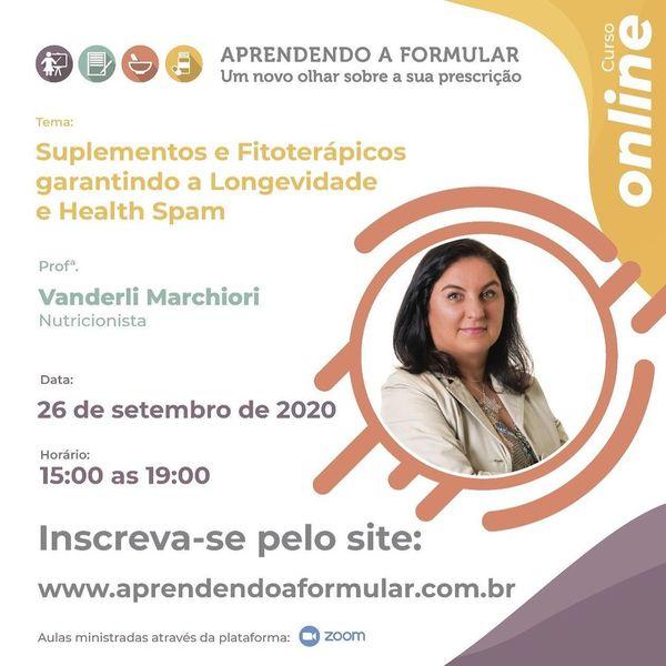 Imagem principal do produto Curso Aprendendo a Formular Online: Suplementos e Fitoterápicos garantindo a longevidade e Health Spam