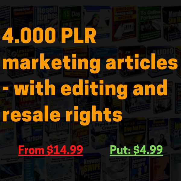 Imagem principal do produto 4.000 PLR marketing articles - with editing and resale rights