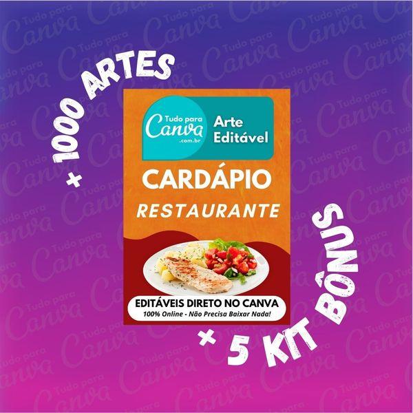 Imagem principal do produto Cardápio Restaurante - Arte Para Canva +1000Artes+5KitsBônus