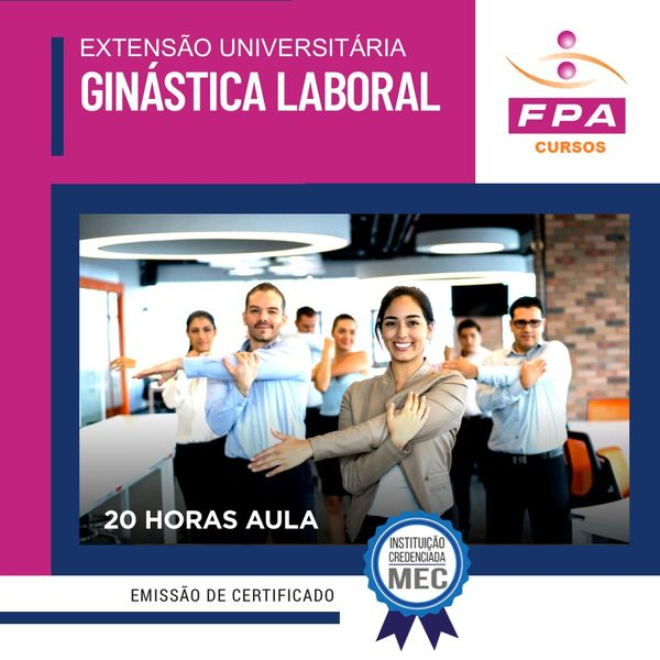 Imagem principal do produto Extensão Universitária de Ginástica Laboral - Especialista  Luciana Bonfim Duarte Cref - 123472 - G/Sp