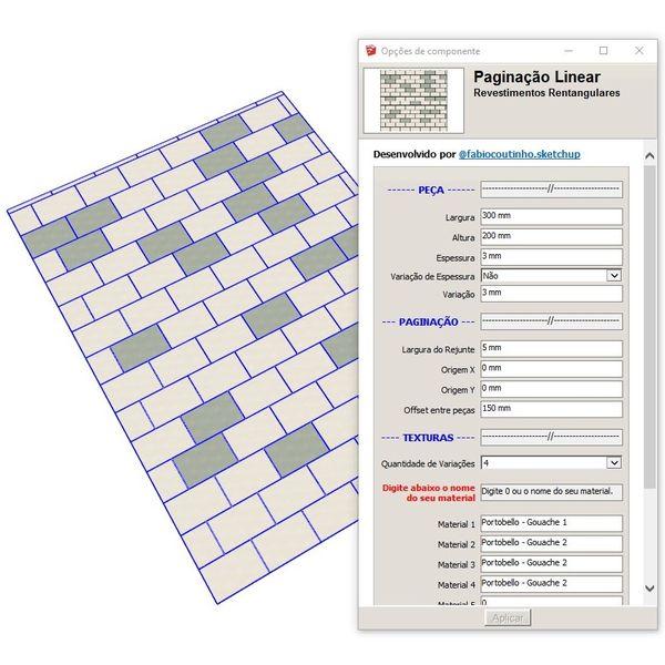 Imagem principal do produto Bloco Dinâmico de Paginação Linear de Revestimentos Retangulares para SketchUp