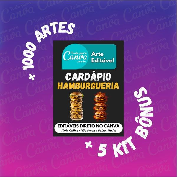 Imagem principal do produto Cardápio Hamburgueria - Arte Para Canva +1000Artes+5KitsBônus