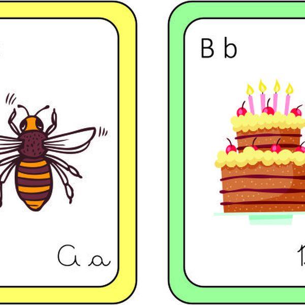 Imagem principal do produto Flashcards do Alfabeto em letra bastão e cursiva com ilustrações