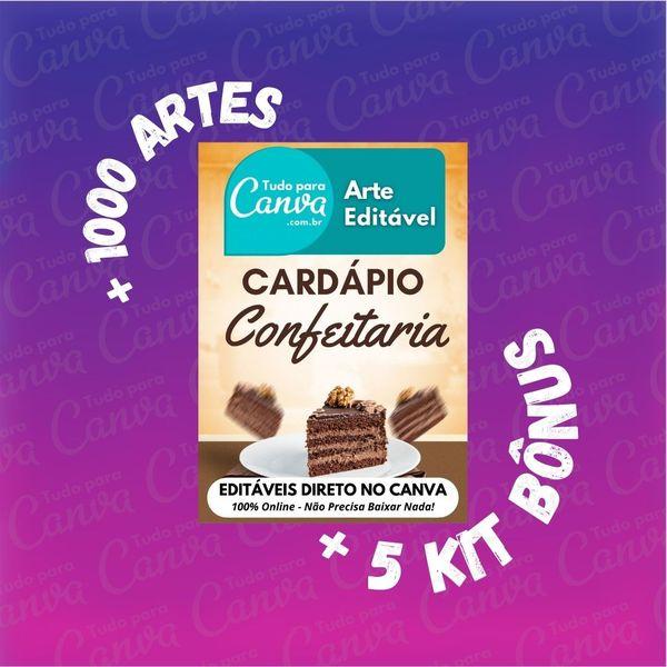Imagem principal do produto Cardápio Confeitaria - Arte Para Canva +1000Artes+5KitsBônus