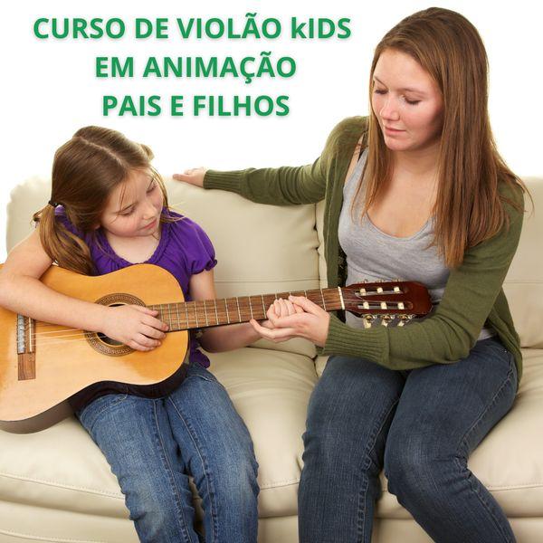 Imagem principal do produto curso de violão kids em animação  para Pais e Filhos Dedé e Sesi