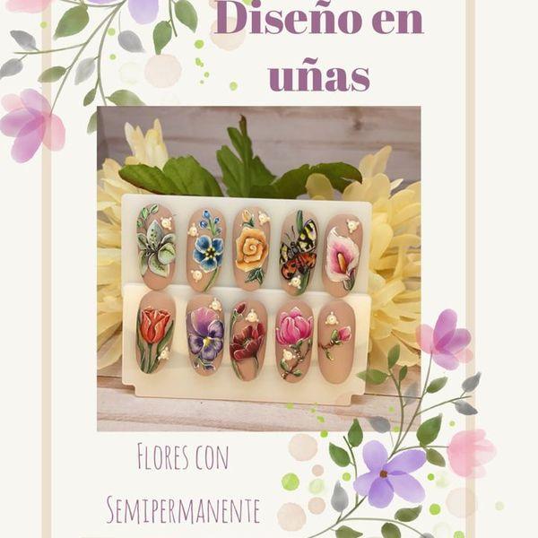 Imagem principal do produto Decoracion de uñas - Flores con semipermanente