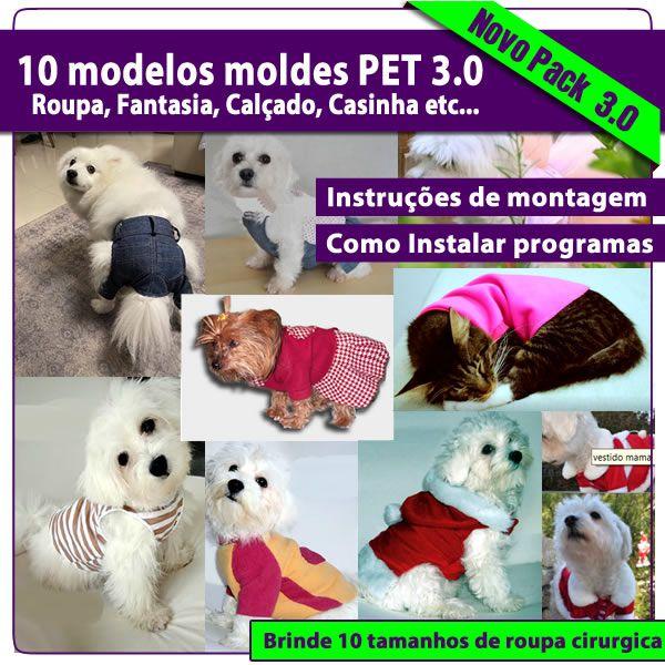 Imagem principal do produto Lançamento 10 Modelos moldes para Pets em PDF 3.0 Roupinhas, Fantasia, Jeans, calçado, casinha etc + Brinde