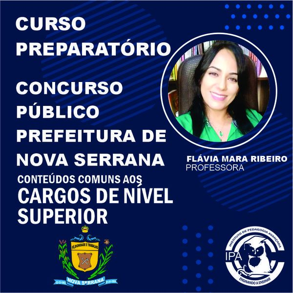 Imagem principal do produto CURSO PREPARATÓRIO PREFEITURA DE NOVA SERRANA/NÍVEL SUPERIOR
