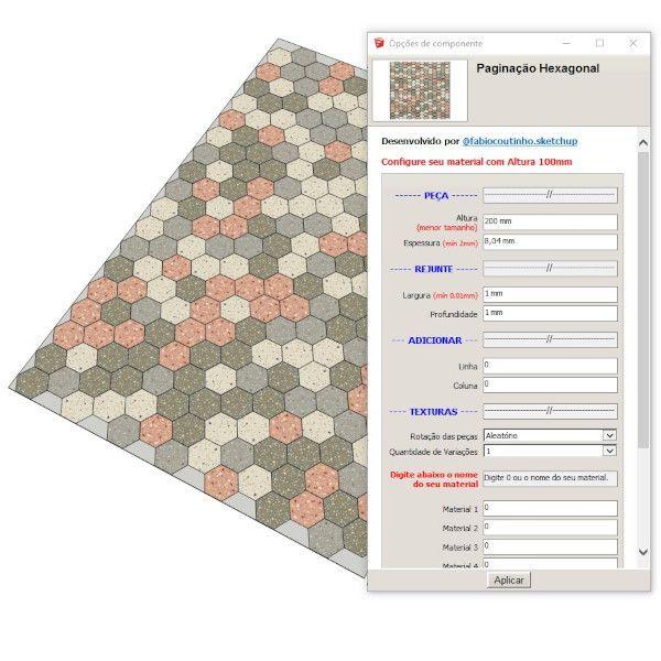 Imagem principal do produto Bloco Dinâmico de Paginação de Revestimentos Hexagonais para SketchUp
